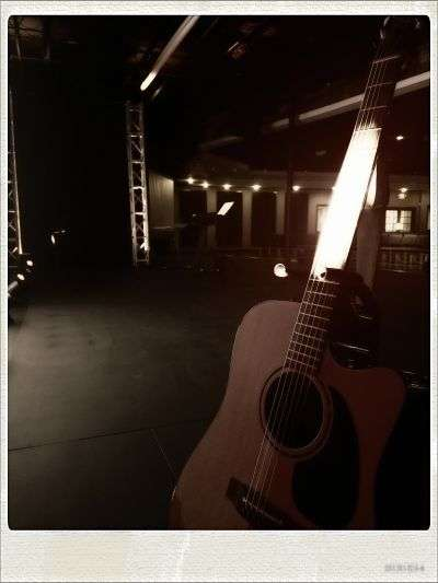 acoustic guitar on stage